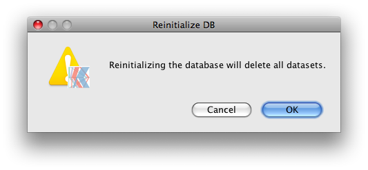 Reinitialize DB warning