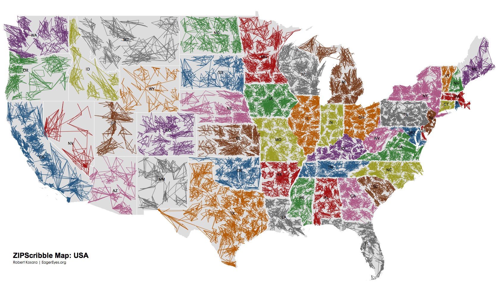 The US ZIPScribble Map - Us telephone area codes map