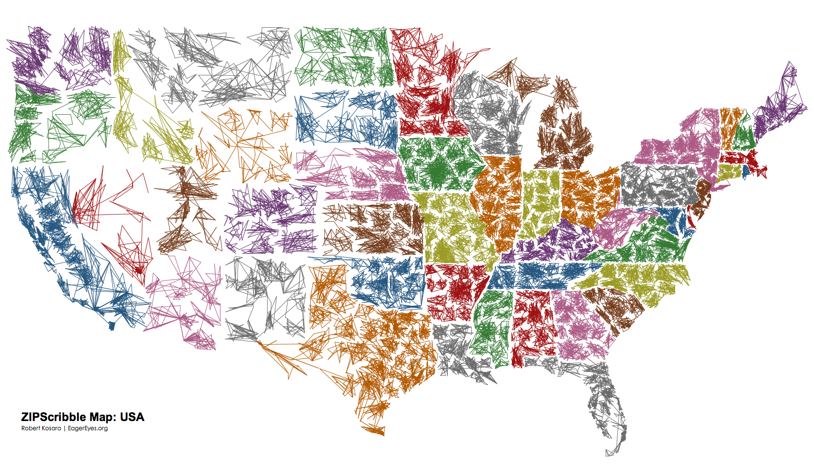 The US ZIPScribble Map - Us map color