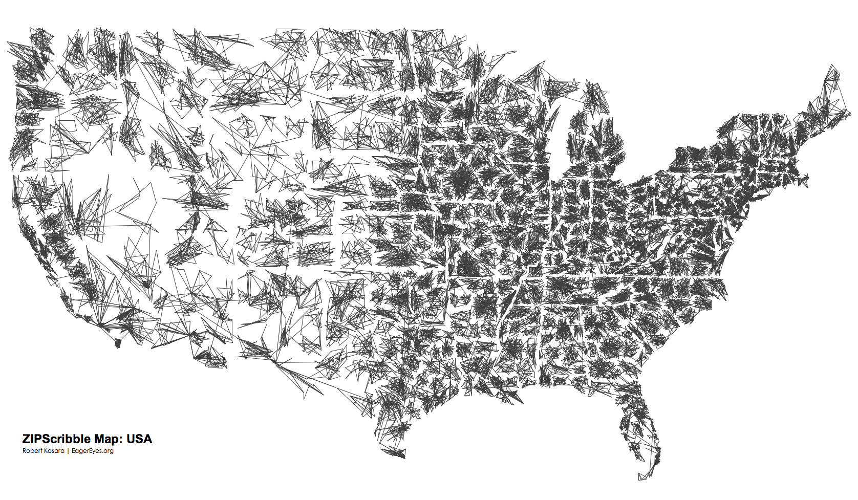 The US ZIPScribble Map - Black and white map of us