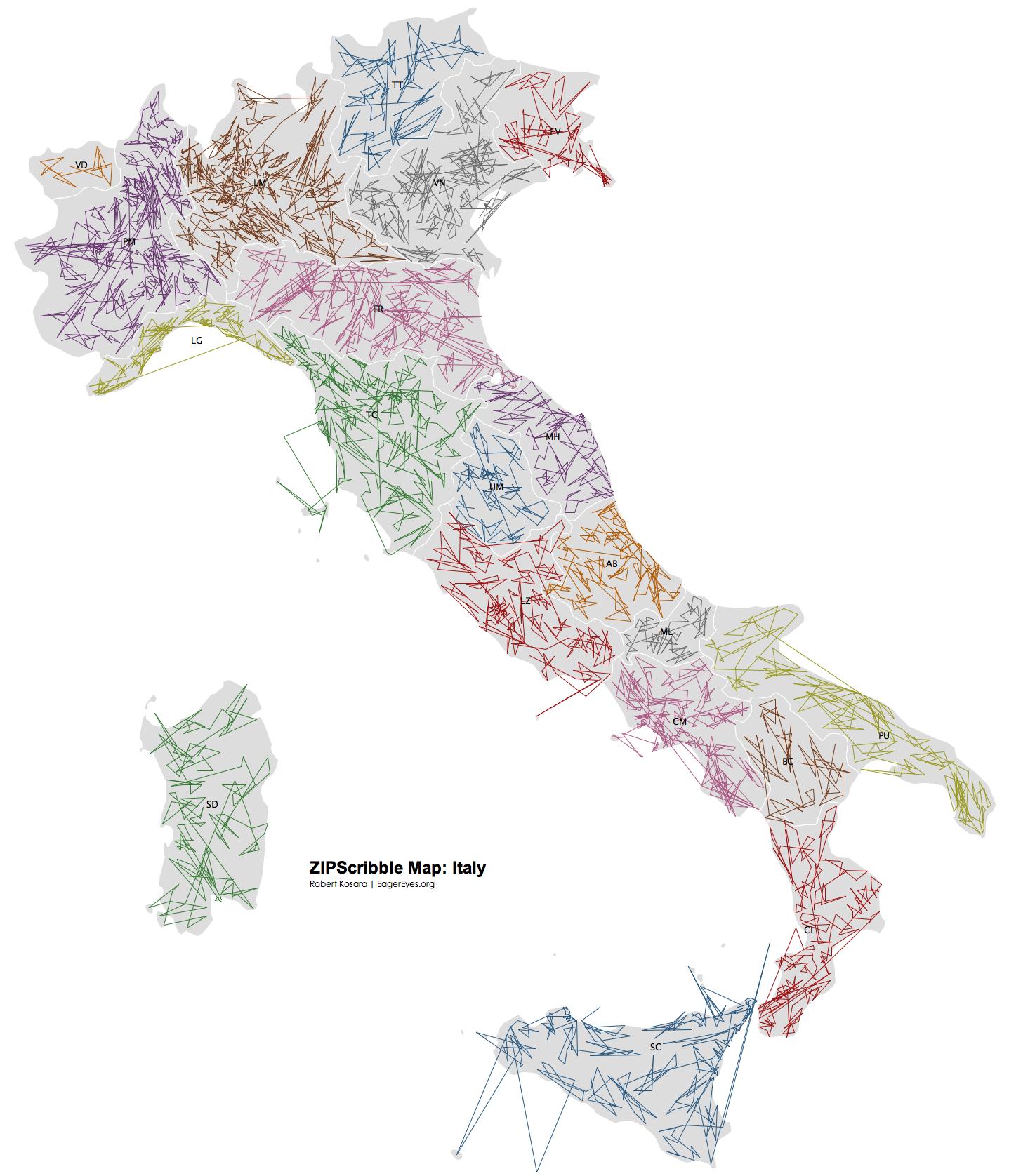 ZIPScribble Map: Italy